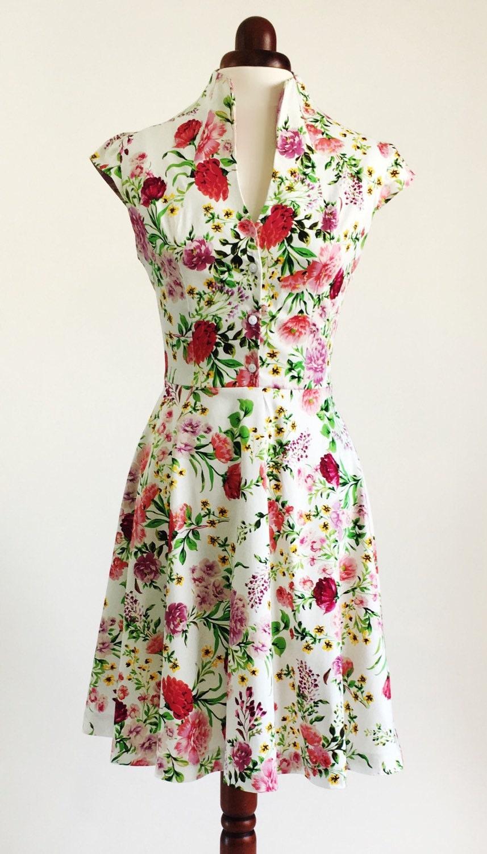Frühling Blumen geblümten Kleid Sommerkleid Vintage-Stil