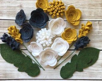 Handmade Wool Felt Flowers, Mustard, White and Charcoal