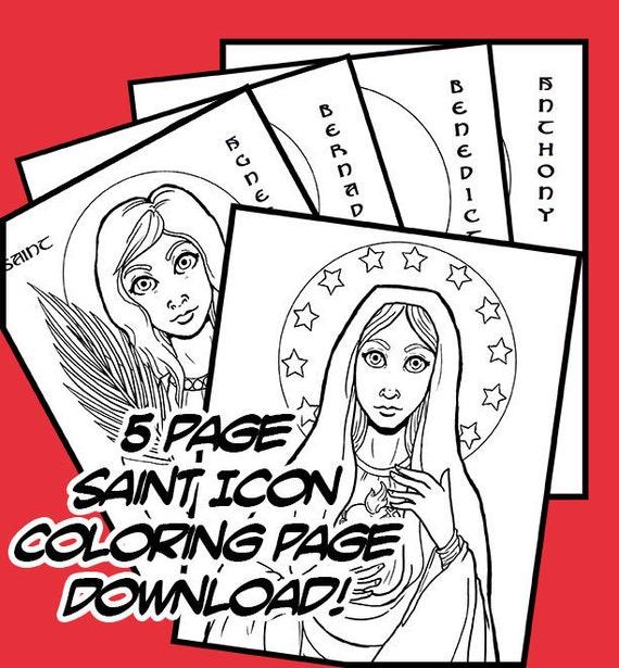 Páginas para colorear de Saint icono iconografía mano