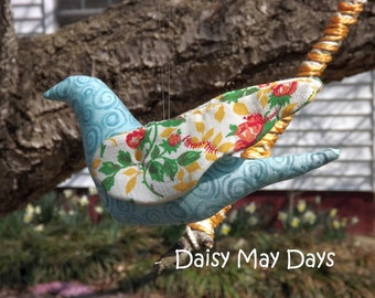 Colorful Bird Ornament - Blue and Rose Print FREE SHIP