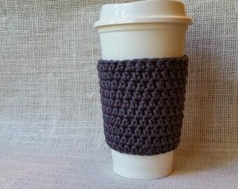 Grey Cup Sleeve Reusable Eco Friendly Crochet Gift Cotton Yarn Coffee Sleeve Stocking Stuffer Teacher Gift Housewarming Gift Gift For Her