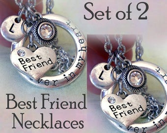 Set of 2 Best Friend Forever in My Heart Necklaces w-Letter Charms of Your Choice, BFF Gift, Best Friend Necklaces, BFF Birthday