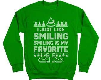 Smiling's My Favorite The Elf Funny Christmas Movie Cosutme Crewneck Sweatshirt DT1636