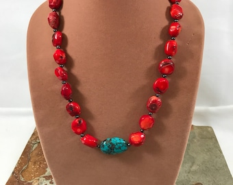 Southwestern style red coral and turquoise necklace