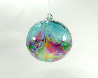 Handblown Glass Ornament in Teal Blue and Multi Coloured Blue, art glass, art glass, birthday gift, Suncatcher