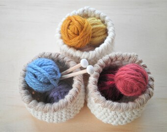 Miniature Crochet Baskets in Set of Three, Small Baskets in Off-white & Brown, Country Chic Decor, Cottage Chic Decor, Gift for Women