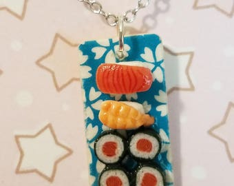 Sushi Board necklace - miniature food jewelry