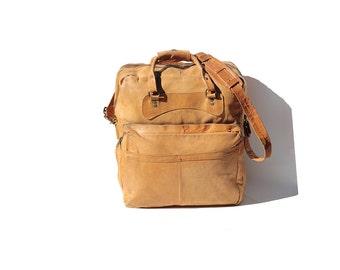 Men's Spun Gold Tan Leather Overnight Bag
