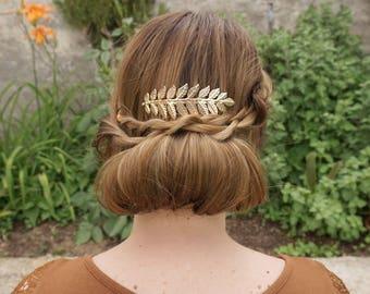 Gift for wife, Leaves Hair Clip, Laurel Leaf Barrette, Gold Leaf Hair Clip, Golden hair Clip, Bridesmaids gift, Leaves hair pins, Leaf Hair