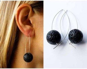 Silver earrings, earrings, silver, lava black, black, handmade new