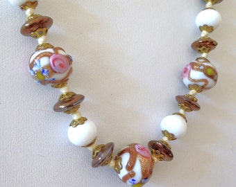 Murano Glass Bead Necklace Wedding Cake Bead Necklace Vintage 50s Necklace For Bride Italian necklace Boho Necklace