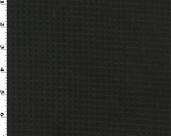 Black Wool Blend Heathered Sweater Knit/Grid Fleece, Fabric By The Yard