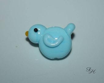 Sweet    Blue Bird Handmade Glass Lampwork Focal Bead by Tinahbeads