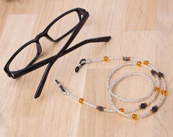 Orange eyeglasses chain - Orange bead and Hematite glasses chain | Eyewear accessories | Glasses cord | Spectacle lanyard | Hematite jewelry