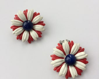 Red White Blue Enameled Flower Earring