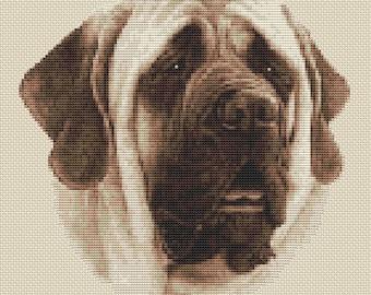 Mastiff Dog in Sepia Cross Stitch Design by Elite Designs