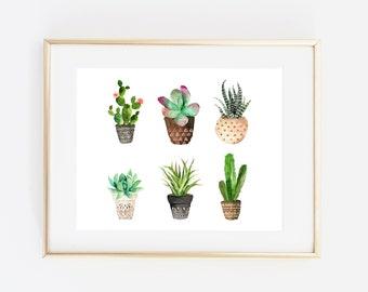 Cactus printable, cactus print, cactus poster, botanical print, succulent print, 8x10, tropics print, instant download, cactus printable art