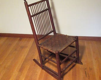 Antique American Rush Seat Rocking Chair Possibly Shaker Birdcage Windsor  Style **Shipping Is NOT
