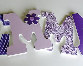 Purple and White Nursery Wooden Letters, Flower Theme, Girl Bedroom