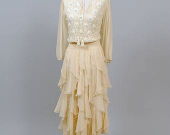1970 Vintage Great Gatsby  Bohemian Wedding Dress