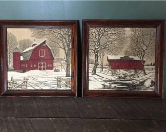 2 Oak Framed Rustic Old Red Barn Farm Fabric PRINTS ART / Vintage Country Farmhouse Decor