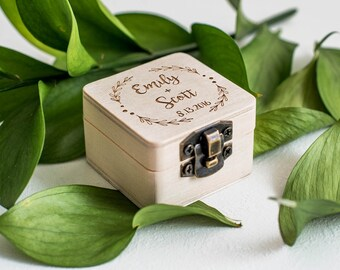 Personalized Unique Wooden Wedding Ring Box | Geometric Engraved Proposal Ring Box Holder | Unique Jewelry Rustic Ring Box