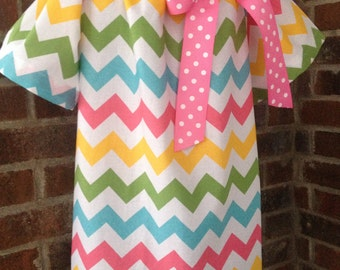 Peasant Dress - Easter Dress - Spring Dress -  Girl, Toddler Girl, Baby Girl - Available in size 12M thru 7/8 - Riley Blake Chevron