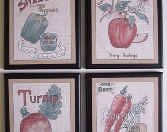 Fruit & Veggies Wall Decor country kitchen signs, apples, turnips, carrots, peppers