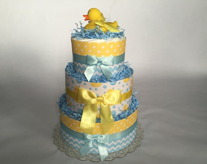 Featured listing image: Yellow and Blue- Rubber Ducky Diaper Cake- 3 Tier