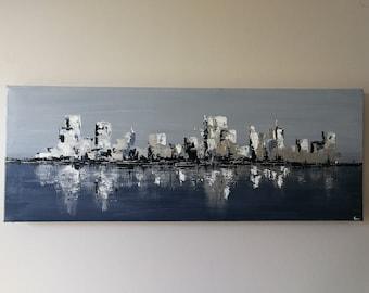 """CITY OF ICE, 12 x 30"""" Acrylic painting on gallery wrapped canvas, , original artwork,"""