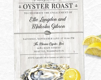 Oyster Roast Nautical Party Invitations; Printable, Evite or Printed (US Only) Invitations