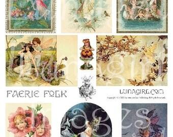 FAIRY FOLK digital collage sheet, vintage fairies, Victorian fairy garden faerie queen images fantasy pictures altered art ephemera DOWNLOAD