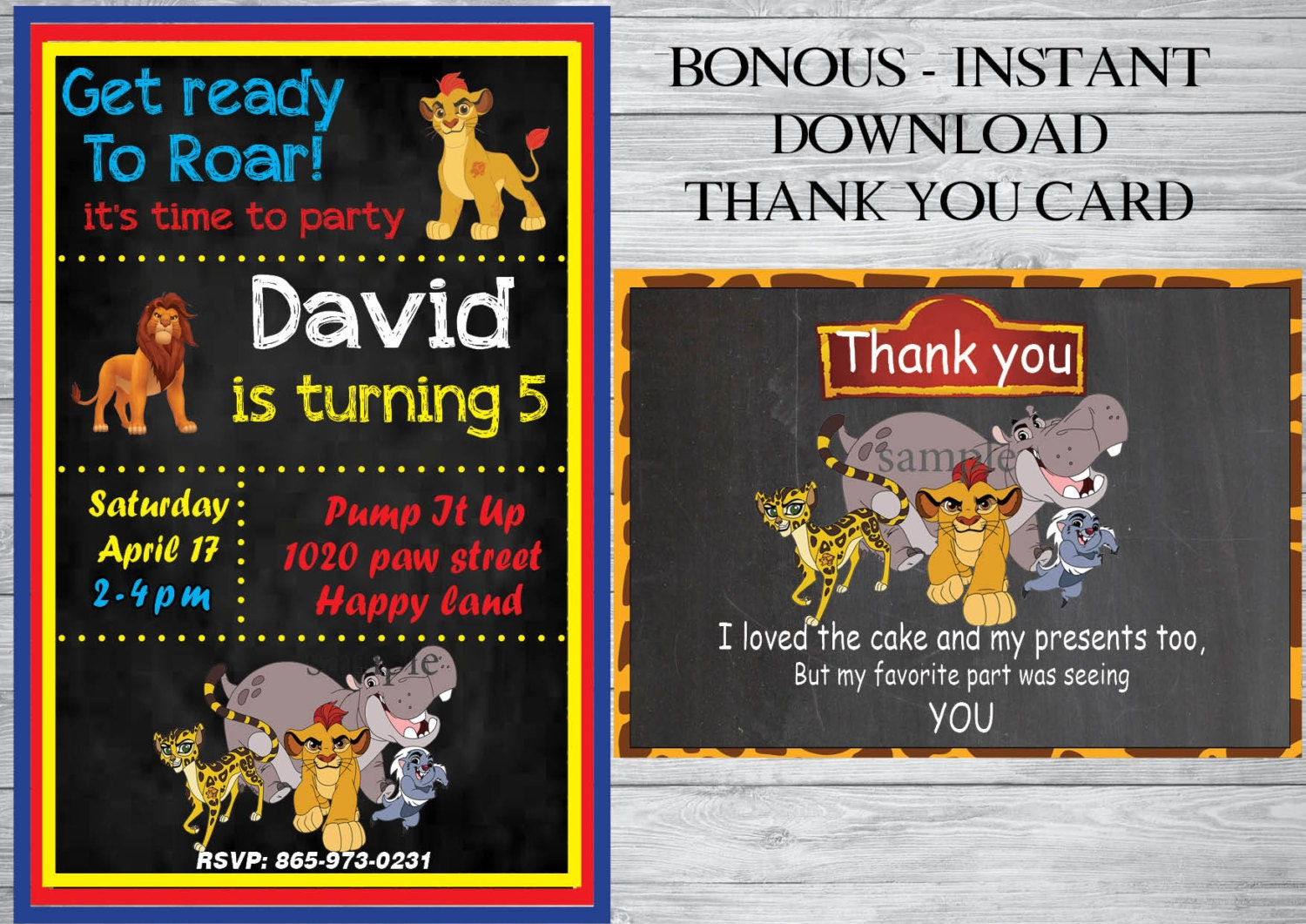 The Lion Guard Birthday Invitation Free Thank You Card The