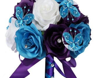 """8"""" Bouquet & Matching boutonniere- Keepsake artificial roses with butterfly accents"""
