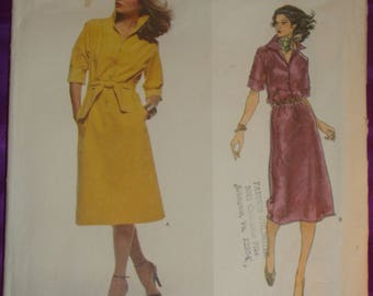 1970s 70s Vtg Jerry Silverman Front Button Dress Pointed Collar Roll Up Sleeves for Synthetic Suede or Leather Vogue 1717 Bst 38 US 97 Cm
