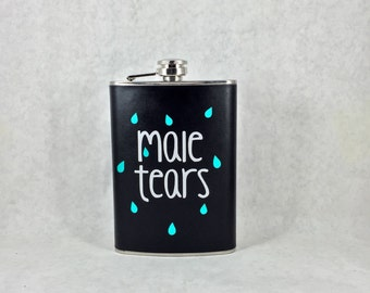 Male Tears 8oz Stainless Steel Black Wrapped Flask