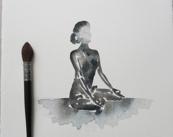 Yoga art | Original | Black and White Lotus | Meditation | Watercolour Painting| A3