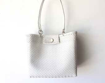 White Mexican woven plastic bag with long handles,  Mexican Tote, Oaxacan Mexico Woven Handbag, Ethnic Mexican Purse