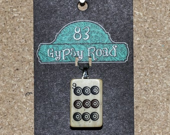 vintage wood mah jong game piece pendant