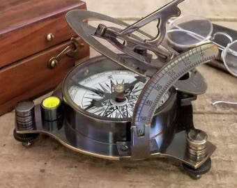 Dark Patina Antiqued Brass Sundial Compass with engraved box
