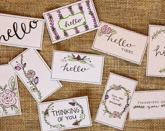 Thinking of You Gift Tags Printable, Handwritten Hello Floral, Blank Tags, Color Yourself- 10 Count