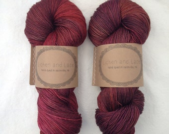 Beet Root ~ Lichen and Lace Hand Dyed Yarn
