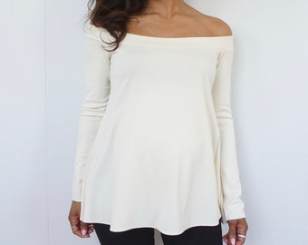 Ivory Off the Shoulder Top - Long Sleeve Maternity Shirt - Ivory Maternity Shirt - Flared Off Shoulder Shirt - Dressy Top - Stylish Bump Top