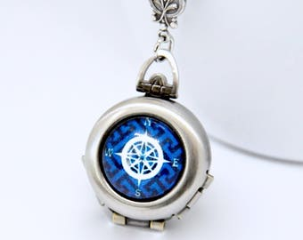 Compass Locket, Compass Necklace, 4 Picture Locket, 4 Photo Locket, Nautical Necklace, Multi Picture Locket, Sailor Necklace, 4 Way Locket