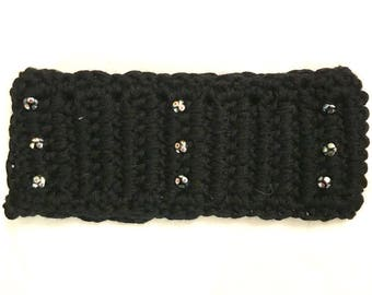 Ear Warmer Head Band - Black with Beads