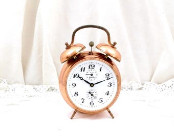 Working Vintage Two Bell Copper Mid Century Wehrle Germany Mechanical Alarm Clock, Wind-up Clock, Retro, Home, Interior Design, Bedroom