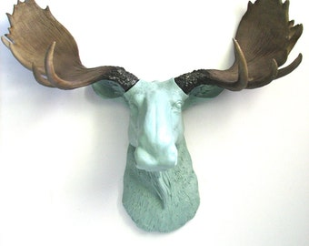 LITE GREEN GREY Faux Taxidermy Large Moose Head Wall Hanging Mount : Max the Moose in light gray-green with natural-looking antlers