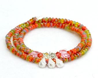 Bracelet-multi-row-orange green-glass beads-Silver pendant-hippie style-Boho style-charm bracelet-Bohemian glass beads