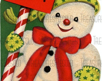Snowman With Candy Cane Sign Christmas Card #484 Digital Download
