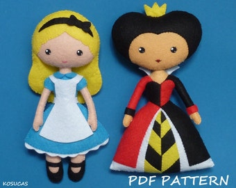 PDF sewing pattern to make felt Alice and Heart Queen dolls.